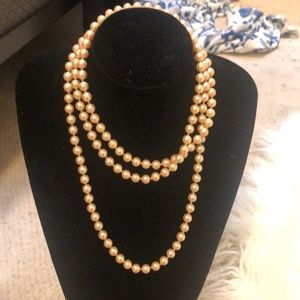 VINTAGE FAUX LONG EXTRA LONG PEARL NECKLACE